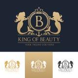 Mall för logo för konungskönhetsjöjungfru Arkivbilder
