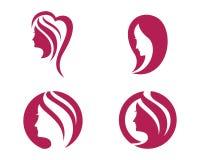Mall för logo för skönhetkvinnasymbol Arkivbilder