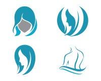 Mall för logo för skönhetkvinnasymbol Arkivfoto
