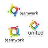 Mall för logodesignvektor Teamwork partnerskap kamratskap enhet royaltyfri illustrationer