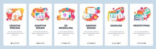Mall för lutning för skärmar för vektorwebbplats onboarding Grafisk design, prototyping, idérik konstnär och modellera 3d stock illustrationer