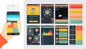 Mall för mobilen app och websitedesign Arkivfoton