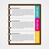Mall för modern design som är infographic av anteckningsbokpapper Arkivfoton