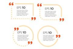 Mall för motivationcitationsteckenask med den redigerbara översiktsslaglängden Citationsteckenbubbla Tom mall Pappers- ark, infor Arkivfoto