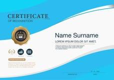 Mall för orientering för mall för certifikatramdesign i formatet A4 Arkivbilder