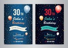 Mall för orientering för inbjudan för födelsedagparti vektor illustrationer