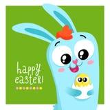 Mall för påskhälsningkort med det hållande ägget för kanin Fotografering för Bildbyråer