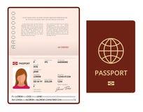 Mall för pass för vektormellanrum öppen Internationellt pass med den personliga datasidan för prövkopia Dokument för lopp och Arkivbild