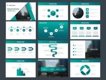 Mall för presentation för beståndsdelar för grön triangelpacke infographic affärsårsrapport, broschyr, broschyr, advertizingrekla vektor illustrationer
