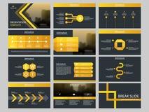 Mall för presentation för beståndsdelar för gul triangelpacke infographic affärsårsrapport, broschyr, broschyr, advertizingreklam royaltyfri illustrationer