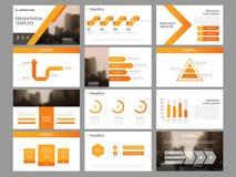 Mall för presentation för beståndsdelar för orange triangelpacke infographic affärsårsrapport, broschyr, broschyr, advertizingrek vektor illustrationer