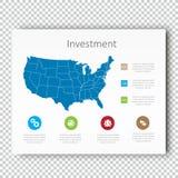 Mall för presentation för Infographic investeringUSA översikt, affärsorienteringsdesign, modern stil, vektordesignillustration Royaltyfri Bild