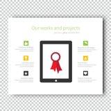 Mall för presentation för minnestavla för Infographic modellapparat Royaltyfri Bild