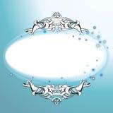 Mall för prydnad för snöflingavektorvinter rund för beståndsdel för hälsningkortdesign royaltyfri illustrationer