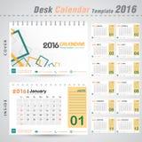 Mall 2016 för räkning för design för vektor för skrivbordkalender modern fyrkantig för kontorsillustration Royaltyfri Bild