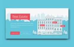 Mall för Real Estate Websitebaner också vektor för coreldrawillustration royaltyfri illustrationer