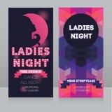 Mall för reklamblad för damnattparti Arkivfoton