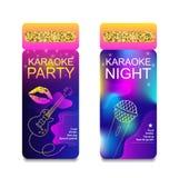 Mall för reklamblad för inbjudan för karaokepartinatt Begrepp för en nattklubb Annonsering av den ljusa karaokestången, parti, di Arkivbilder