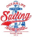 Mall för seglingaffischdesign Abstrakt bakgrund med sailboa vektor illustrationer