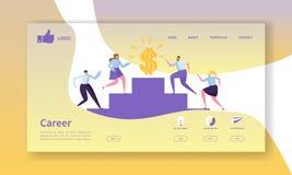 Mall för sida för affärskarriärlandning Websiteorientering med plana folktecken som går till framgång royaltyfri illustrationer
