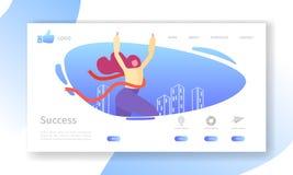 Mall för sida för landning för affärsframgång Websiteorientering med den plana kvinnateckenkorsningen mållinje ledarskap stock illustrationer
