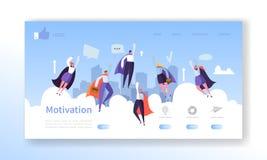 Mall för sida för Websiteutvecklingslandning Mobil applikationorientering med plana flygaffärshjältar man och kvinna royaltyfri illustrationer