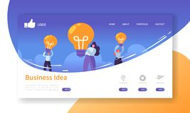 Mall för sida för Websiteutvecklingslandning Mobil applikationorientering med plant affärsfolk som rymmer ljusa kulor vektor illustrationer