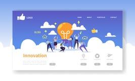 Mall för sida för Websiteutvecklingslandning Mobil applikationorientering med plant affärsfolk som rymmer ljusa kulor stock illustrationer