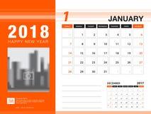 Mall 2018 för skrivbordkalender JANUARI 2018 månad planner Royaltyfria Bilder