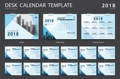 Mall 2018 för skrivbordkalender Uppsättning av 12 månader Arkivfoto