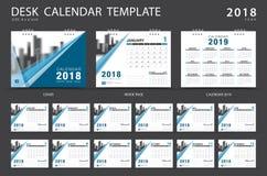 Mall 2018 för skrivbordkalender Uppsättning av 12 månader Royaltyfria Foton