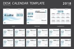Mall 2018 för skrivbordkalender Uppsättning av 12 månader Arkivfoton