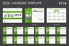 Mall 2018 för skrivbordkalender Uppsättning av 12 månader Arkivbilder