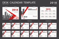 Mall 2018 för skrivbordkalender Uppsättning av 12 månader Arkivbild