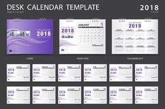 Mall 2018 för skrivbordkalender Uppsättning av 12 månader Royaltyfri Foto