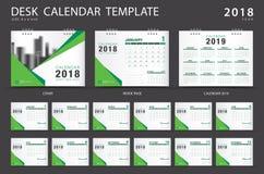 Mall 2018 för skrivbordkalender Uppsättning av 12 månader planner Fotografering för Bildbyråer