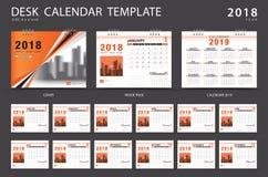 Mall 2018 för skrivbordkalender Uppsättning av 12 månader planner Arkivfoton