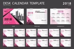 Mall 2018 för skrivbordkalender Uppsättning av 12 månader planner Royaltyfria Bilder