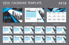 Mall 2018 för skrivbordkalender Uppsättning av 12 månader planner blå räkning Royaltyfri Fotografi