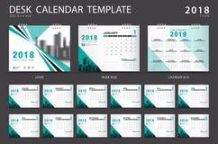 Mall 2018 för skrivbordkalender Uppsättning av 12 månader planner Grön räkning Royaltyfri Bild