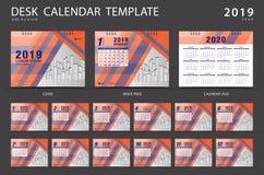 Mall 2019 för skrivbordkalender Uppsättning av 12 månader planner Veckasta stock illustrationer