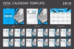 Mall 2019 för skrivbordkalender Uppsättning av 12 månader planner Veckastarter på söndag stock illustrationer