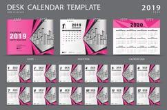 Mall 2019 för skrivbordkalender Uppsättning av 12 månader planner Veckastarter på söndag Brevpapperdesign stock illustrationer