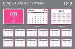 Mall 2019 för skrivbordkalender Uppsättning av 12 månader planner Veckastarter på söndag Brevpapperdesign vektor illustrationer