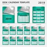 Mall 2019 för skrivbordkalender Uppsättning av 12 månader planner Veckastarter på söndag Brevpapperdesign annonsering Vektororien stock illustrationer