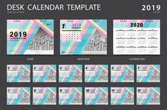 Mall 2019 för skrivbordkalender Uppsättning av 12 månader planner Veckastarter på söndag Brevpapperdesign annonsering stock illustrationer