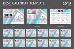 Mall 2019 för skrivbordkalender Uppsättning av 12 månader planner Veckastarter på söndag Brevpapperdesign annonsering Vektororien vektor illustrationer