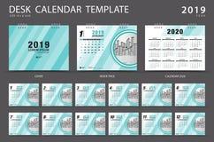 Mall 2019 för skrivbordkalender Uppsättning av 12 månader planner Veckastarter på söndag Brevpapperdesign annonsering vektor illustrationer