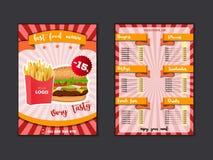 Mall för snabbmatrestaurangmeny Äta lunch disk, och drinkar listar med priser och hamburgaren, pizza, varmkorven, sodavatten, små royaltyfri illustrationer