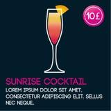 Mall för soluppgångcoctailkort med pris och plan bakgrund Arkivfoto